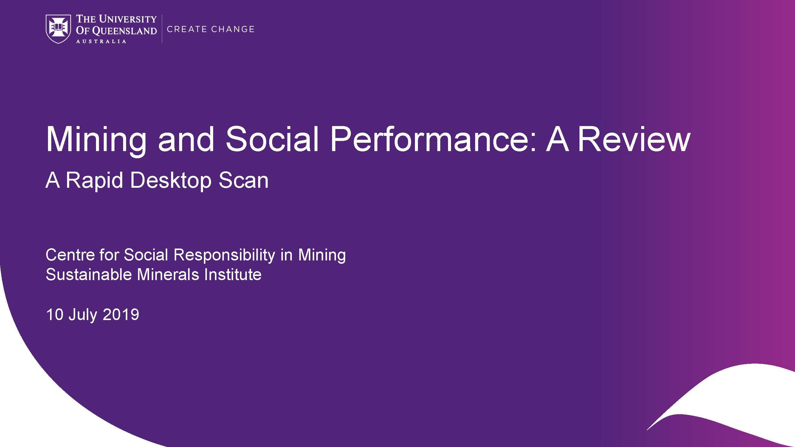 A Rapid Desktop Scan of Social Performance of 14 extractive companies
